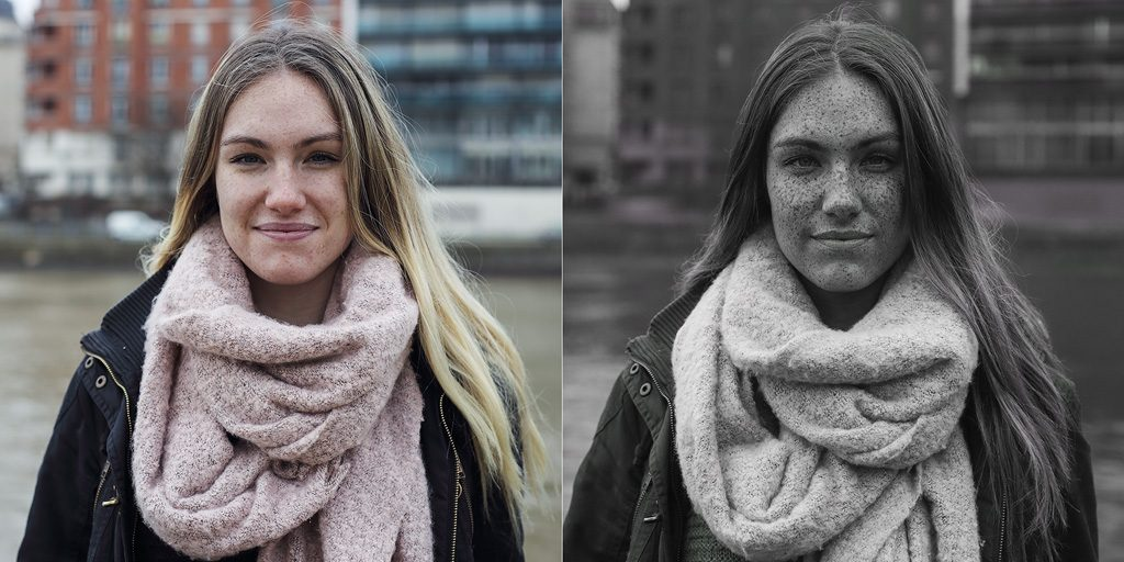 Comparison between visible and UV portrait